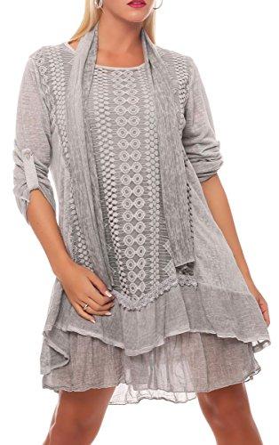 Malito Damen Strickkleid mit Schal | Maxikleid mit Spitze | schickes Freizeitkleid | Pullover - Kostüm 6283 - Italienische Kostüm Frauen