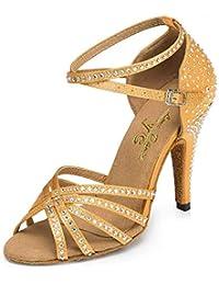 c296b601 Eeayyygch Cristales Mujer Chispa Zapatos De Baile De Salsa Latina  Satinada/Tango / Chacha/Samba / Moderno…