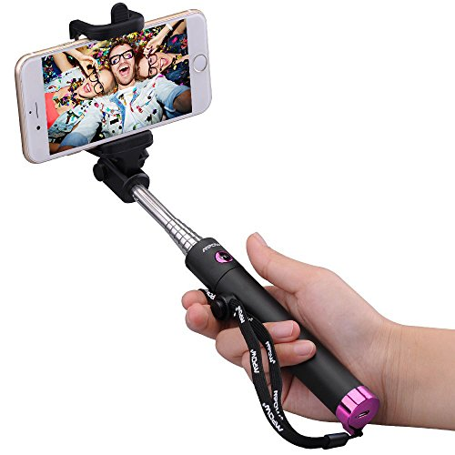 Selfie Stick, Mpow iSnap X U-Form Selfie Stange Erweiterbar Selfie Stick mit Bluetooth Fernauslöser für iPhone 7 7 Plus 6 6S 6 Plus 6S Plus, Huawei HTC M9 M8 usw. - Rosa