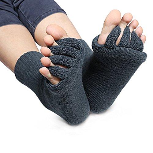 Produktbild Grau Zehenspreizer Wellness Socken Zehentrenner Pediküre Fuß Massage Socken Gr. 34 bis 43