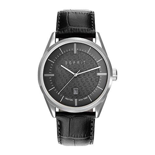 Esprit Mens Analogue Classic Quartz Watch with Leather Strap ES109421001