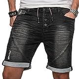 Sublevel Herren Jogg Jeans Shorts kurze Hose Bermuda Sommer Short Sweathose Slim [B113 - Schwarz mit Knopfleiste - W32]