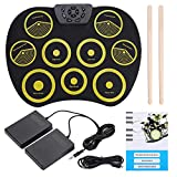 Dilwe Roll-Up E-Drum, tragbare Rolling Up Silikon-E-Drum Pad Set Kit mit Pedalen Sticks USB-Kabel, Drum Instruments Spielzeug für Kinder