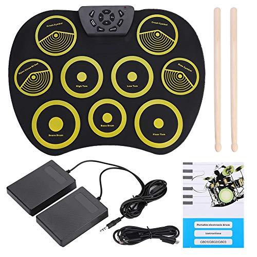 Dilwe Roll-Up E-Drum, tragbare Rolling Up Silikon-E-Drum Pad Set Kit mit Pedalen Sticks USB-Kabel, Drum Instruments Spielzeug für Kinder