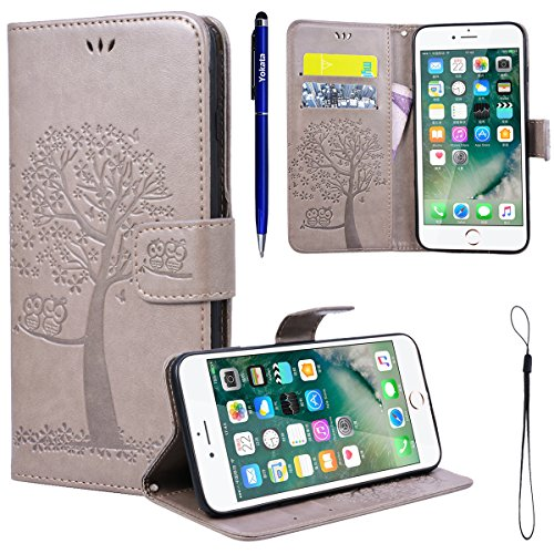 Yokata iPhone 7 Plus Hülle Leder Premium Handyhülle Handy Ledertasche Schutzhülle Flip Case Wallet Tasche Handytasche Weiche Silikon Backcover Innere mit Kartenfach Standfunction und Magnetverschluss  Grau