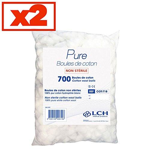 Boules De Coton 100% Coton Hydrophile Lot De 2 Sachets De 700 Boules - Cot-718-2 - By Antigua Health Care