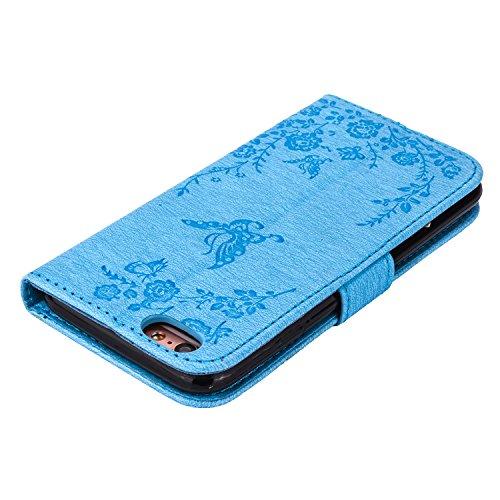 MOONCASE IPhone 6 / 6S Hülle, Premium Leder Schutzhülle [Blumen Schmetterling Serie] PU Leder Flip Handyhülle Tasche Case für iPhone 6 / 6S (4.7 inch) HotRosa Blau