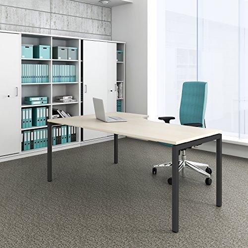 Winkelschreibtisch rechts Computertisch Eckschreibtisch 180 x 120 cm Ahorn NOVA, Gestellfarbe:Anthrazit