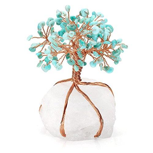 JOVIVI Lebensbaum Dekoration Trommelsteine Wire Wrap Baum des Leben Edelstein Fengshui Reiki Deko für Wohnung Schlazimmer Büro/Amazonit