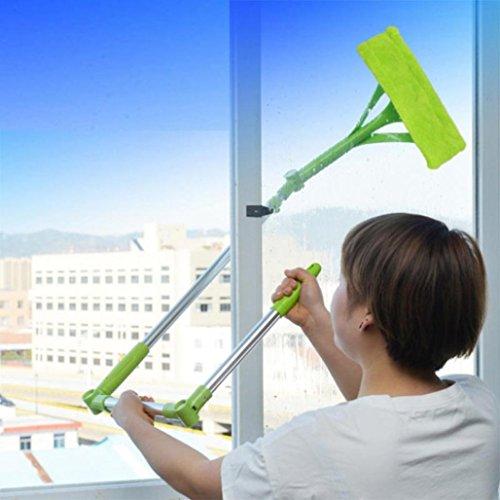 SOMESUN Fenstersauger Teleskopisch Faltbar Griff Reinigung Glas Schwamm Mopp Reiniger Fenster Erweiterbar Fenstersauger mit Stiel und Einwascher