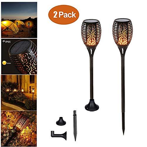 2 pièces Chaozan® Solar Lights Flambeaux à flamme 96 LED Bis Dawn Allumer / Éteindre Automatique (Capteur de lumière), Projecteur de jardin Éclairage de Étanche IP65