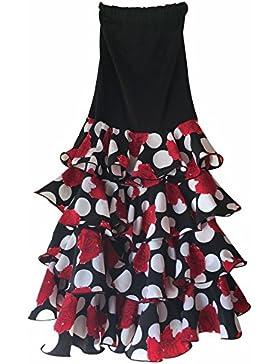 Creacions Hilary Falda Flamenco Danza Sévillane mujer Lujo negro con rosas y volantes
