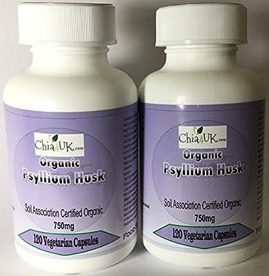 ORGANIC Psyllium Husk Capsules 700mg 100% Vegetarian WEIGHTLOSS DETOX CLEANSE ;) (2 x 120 Capsules in Pharma Bottles) (Not tablets) ispaghula fibre constipation relief