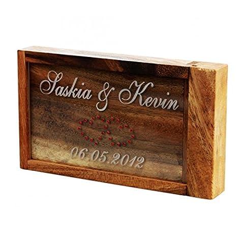 Geschenke 24: Magische Geldgeschenke Box mit Gravur - rote Strass-Herzen - graviertes Geldgeschenk - Denkspiel, Knobelspiel, lustige Verpackung für (Weihnachten Nachrichten Für Den Chef)