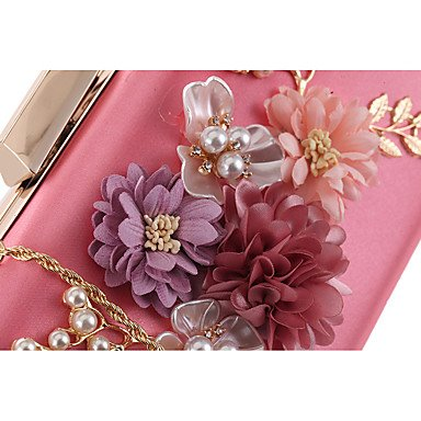 Woman Fashion Blumen Abendessen Abend Tasche Beige