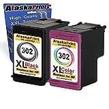 Alaskaprint 2er Set Tintenpatronen Kompatibel für Hp 302 XL 302XL ( 1x Schwarz , BK , Black + 1x Farbig , Color) HP DeskJet 1110 2130 3630 HP Envy 4520 e-All-in-One 4524 e-All-in-One HP OfficeJet 3830 4650 3800 Series