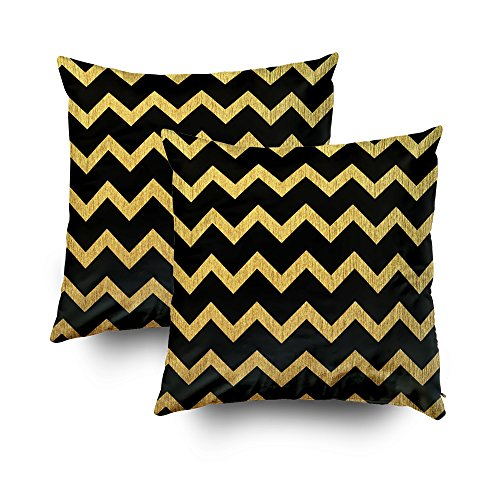 Capsceoll Dekorativer Kissenbezug mit Reißverschluss, 40,6 x 40,6 cm, Schwarz und Gold, 2 Stück, Baumwolle, Multi 1, 18x18 Hot Versteckte Video