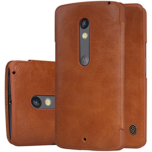 FliFit Nillkin Qin Royal Leather Bumper Flip Case Cover Case for MOTO X Play (Brown)