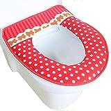 Hillento antibactérien épais tapis coloré points de toilette - rouge