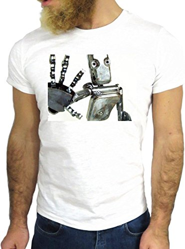 T SHIRT JODE z3052 ROBOT NICE ROCK VINTAGE USA AMRERICA MAN IRON SUPER COOL GGG24 BIANCA - WHITE