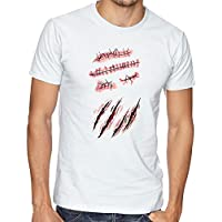 Ripped Off Body With Scars And Blood Imitation Funny Design Awesome After Fight Men Herren White T-shirt