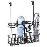 mDesign Fönhalter ohne Bohren – ideales Türregal zur Fön Aufbewahrung im Bad – optimaler Badorganizer für Lockenstab, Glätteisen und Bürste – bronzefarben