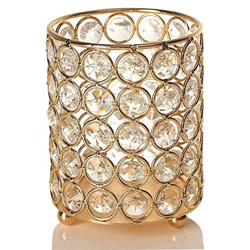 Vincigant candelabri di cristallo chiaro tè del cilindro dell'oro/candela di tonalità per candela del barattolo,san valentino decorazione