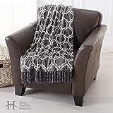 Home Fashion Designs Orleans Collection Geometric Lightweight Ultra Velvet Plush Soft Blanket with Decorative Fringe, Steel Grey