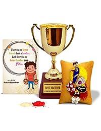 Tied Ribbons Rakhi Gift Hamper (Designer Rakhi, Golden Trophy, Rakshabandhan Special Card, Roli Chawal)