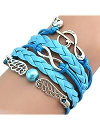 TOOGOO(R)MARENJA Moda - Regalo para Mujer Pulsera Brazalete Cuero Cordon Perla Sintetica Azul Alas de Angel Infinito Nota Musical Craneo Bisuteria de Moda