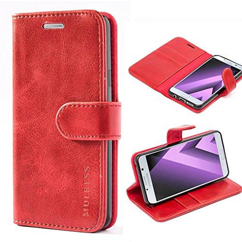 Mulbess Handyhülle für Samsung Galaxy A3 2016 Hülle, Leder Flip Case Schutzhülle für Samsung Galaxy A3 2016 Tasche, Wein Rot