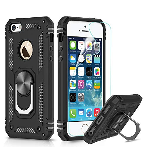 LeYi Funda iPhone SE/5S/5 Armor Carcasa 360 Anillo