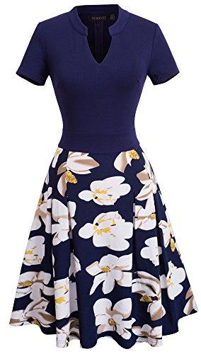 HOMEYEE Elegante donna tagliare l'abito floreale in contrasto per lavorare casual Un abito di linea A036 Blu