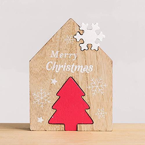 TAOtTAO  Die Blöcke der hölzernen Tischplattendekorationkombination der Kinder Weihnachts Weihnachten Holz Desktop Dekoration Home Party Ornamente Bausteine Geschenke (D)
