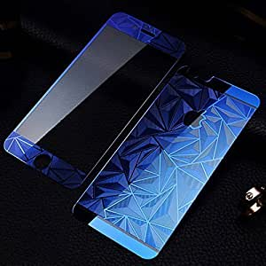Premium 3D Diamond Pattern Mirror Front + Back Tempered Glass Screen Protector for Apple Iphone 4/4s - BLUE