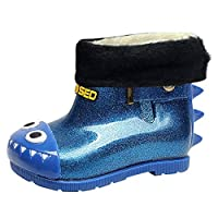 HuhuaChildren Rain Shoes Kids Baby Warm Waterproof Boots Bling Cartoon Dinosaur Rain Boots