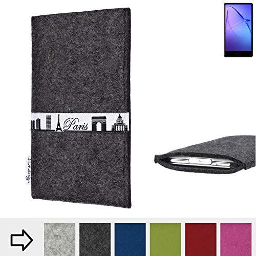 flat.design für Leagoo KIICA Mix Schutzhülle Handy Case Skyline mit Webband Paris - Maßanfertigung der Schutztasche Handy Hülle aus 100% Wollfilz (anthrazit) für Leagoo KIICA Mix