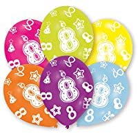 amscan All Round Printed Age 8, 6 Latex Balloons 27.5cm