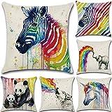 BAIVIT Regenbogen Tier Kissenbezug Panda Leinen Kissenbezug Einhorn Auto Kissen Zebra Dekoration Sofa 45X45 cm
