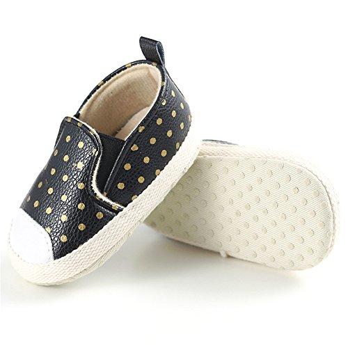 Confortables et Belle Tout-petits Chaussures Souples et Antidérapant Filles Chaussures Premiers Pas avec Décoration de Points, 0-18 mois (Noir, L) Noir