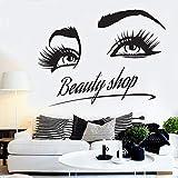jiushivr Beauté Salon De Coiffure Stickers Manucure Cosmétique Boutique Sticker Mural Cils Motif Art Mural Vinyle Autocollants L Déco Maison 42x54cm...