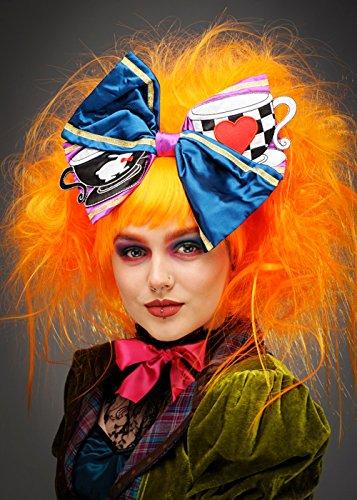 (Magic Box Int. Womens Deluxe Neon Orange Mad Hatter Perücke und Bogen)