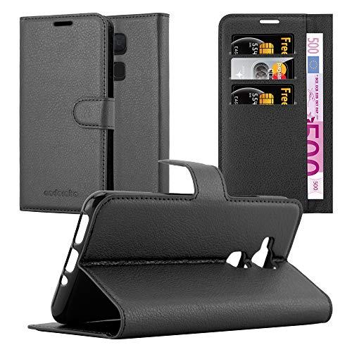 Cadorabo Hülle für BQ Aquaris V/Vs - Hülle in Phantom SCHWARZ - Handyhülle mit Kartenfach und Standfunktion - Case Cover Schutzhülle Etui Tasche Book Klapp Style