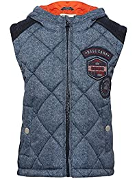 M&Co Boys Navy Textured Padded Zip Fastening Cord Back Yolk Badge Applique Contrast Lining Hooded Gilet