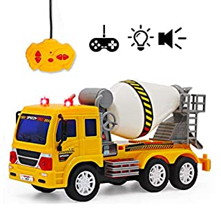 deAO Remote Control Early Learning Engineering Construction Vehicles with Light and Sounds - Best Gift for Kids (Cement Mixer)