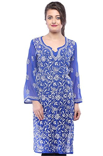 New Arrival Hand Embroidered Chikan Latest Georgette Kurti Dress from ADA A113829
