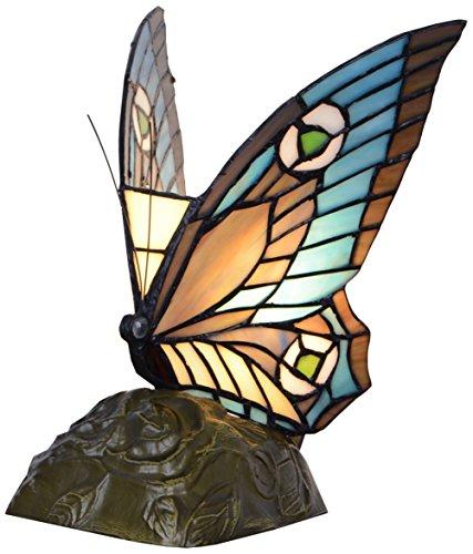 Ivintage 275600 Lámpara de sobremesa Tiffany, Verre Opale étamé, Multicolore, 16 x 28 x 38 cm