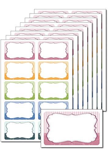 80 Etiketten 'Retro gestreift' zum Bedrucken, Beschriften, DIN A5, selbstklebend, leicht ablösbar, für Einmachgläser, Gebäcktüten, Give-Aways (Blätter Gewürz-farbige)