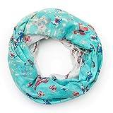 MANUMAR Loop-Schal für Damen | Hals-Tuch in türkis mit Schmetterling Motiv als perfektes Herbst Winter Accessoire | Schlauchschal | Damen-Schal | Rundschal | Geschenkidee für Frauen und Mädchen