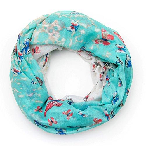 MANUMAR Loop-Schal für Damen | Hals-Tuch in türkis mit Schmetterling Motiv als perfektes Sommer-Accessoire | Schlauchschal | Damen-Schal | Rundschal | Geschenkidee für Frauen und Mädchen